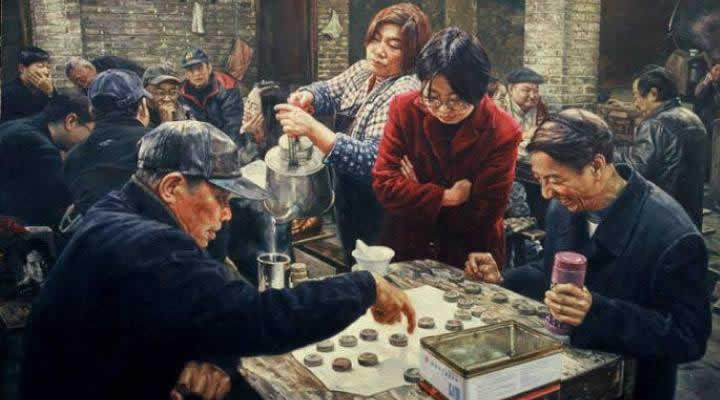 Чэнь Аньцзянь. В чайной. Китайские шахматы сянци